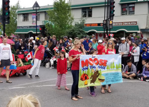 Moose on the Loose VBS banner in parade
