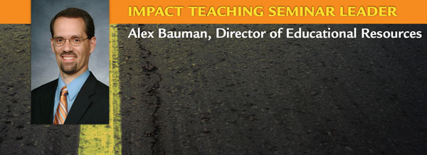 Alex Bauman is Director of Educational Resources. He has prepared the Impact Teaching Leader's Guide, a resource designed to help pastors and superintendents train teachers, using the Impact Teaching manual. Alex is actively involved in the teaching ministry of his church.