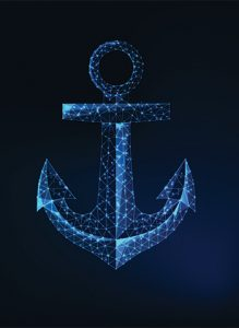 Glowing blue-white anchor on black background
