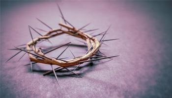 crown on thorns on a purple background