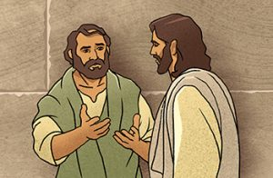 drwing of Jesus speaking to a man one-on-one