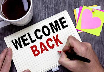 "hand writing ""Welcome Back"""