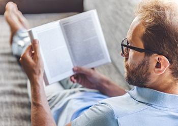 Man casually reading